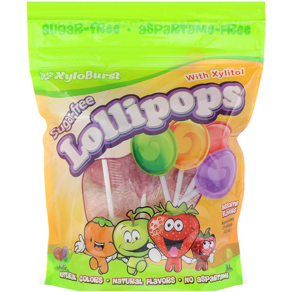 Sugar-Free Lollipops with Xylitol, Assorted Flavors, Approximately 25 Lollipops (9.3 oz)