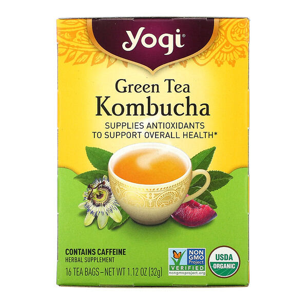 Green Tea Kombucha, 16 Tea Bags, 1.12 oz (32 g)