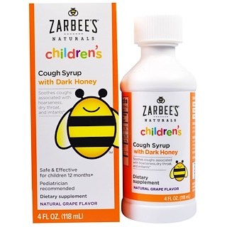 Zarbee's, All-Natural Children's Cough Syrup, 12 Months+, Natural Grape Flavor, 4 fl oz