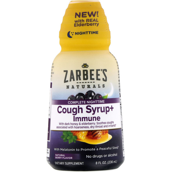 Zarbee's, Complete NightTime, Cough Syrup + Immune, Natural Berry, 8 fl oz (236 ml)